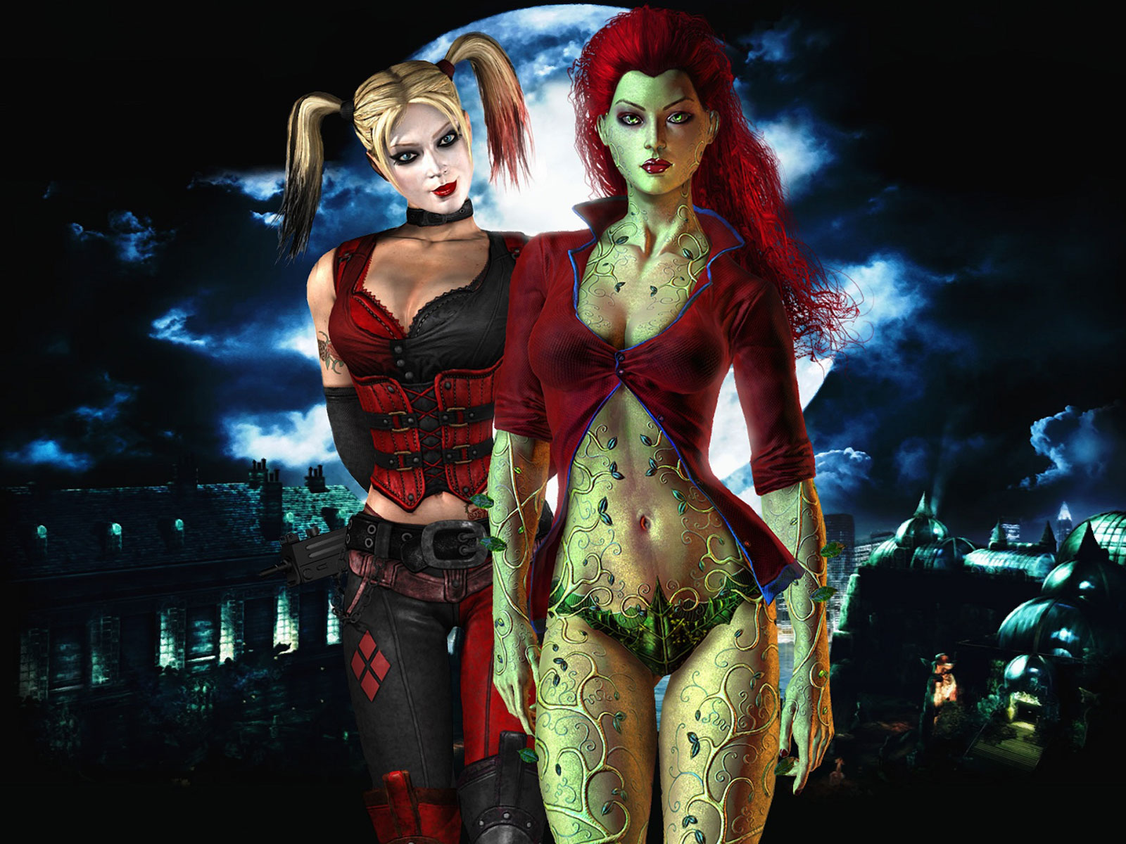 poison ivy batman arkham. Harley and Ivy, classic femme