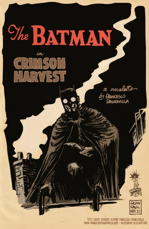 Noir Art Francesco Francavilla The Batman in Crimson Harvest