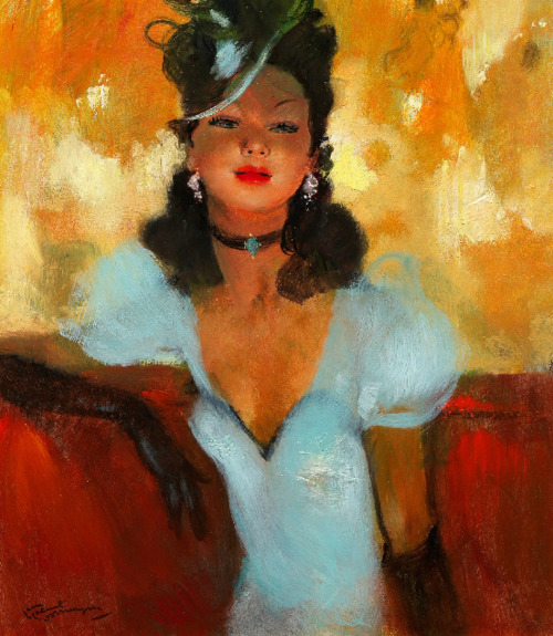 Walk to the Folies Bergeres Jean-Gabriel Domergue