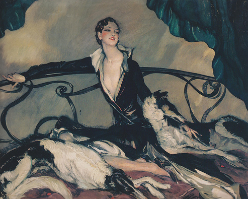 Woman with Greyhounds 1930 Jean-Gabriel Domergue