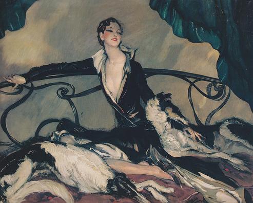 Woman with Greyhounds 1930 Jean-Gabriel Domergue